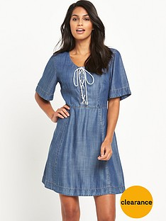 v-by-very-denim-tencel-lace-up-dressnbsp