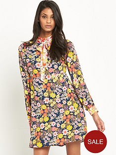 v-by-very-contrast-neck-tie-tea-dress
