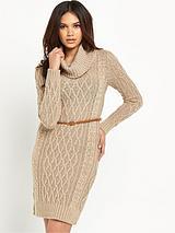 Cable Cowl Neck Jumper Dress