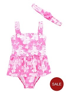 ladybird-girls-floral-swimsuit-and-headbandnbspset-2-piece