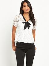 Lace Top With Contrast Tie