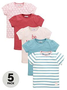 ladybird-girls-be-happy-slogan-and-printed-t-shirts-5-pack