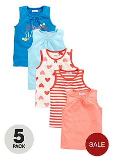 ladybird-girls-love-summer-slogan-and-printed-vests-5-pack