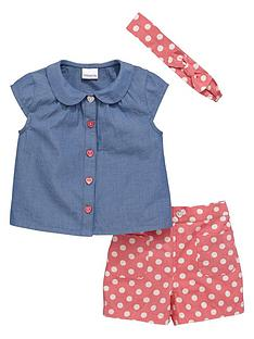 ladybird-girls-cute-chambray-shirt-spotty-shorts-and-headband-set-3-piece
