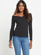 Long Sleeve Wrap Detail Ribbed Top