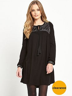 french-connection-goldie-stone-long-sleeve-smock-dress