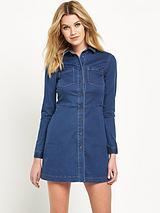 Second Skin Denim LS Shirt Dress
