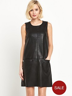 warehouse-popper-detail-faux-leather-dress