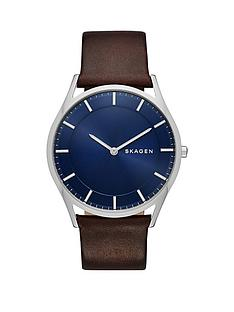 skagen-skagen-holst-blue-sunray-dial-dark-brown-leather-strap-mens-watch