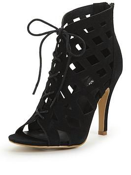 Photo of Glamorous caged tie up shoe boot