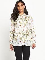 Floral Drape Front Shirt
