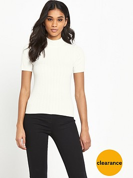 miss-selfridge-short-sleeve-cable-funnel-neck