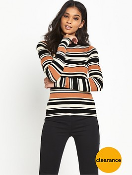 miss-selfridge-block-stripe-rib-roll-neck
