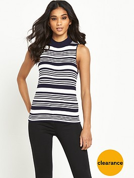 miss-selfridge-sleeveless-rib-funnel-neck-top