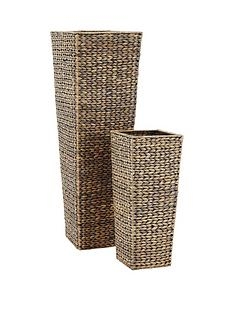 set-of-2-water-hyacinth-decorative-wicker-vases-grey