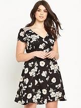 Floral Print V-neck Tea Dress