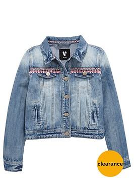 v-by-very-girls-aztec-trim-denim-jacket