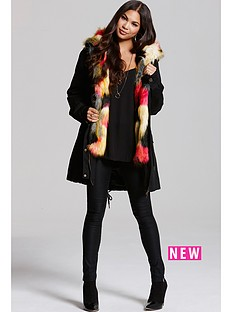 little-mistress-black-parka-with-multi-coloured-lining