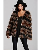 Multi Faux Fur Chevron Coat