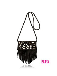 river-island-river-island-girls-eyelet-fringed-xbody-bag