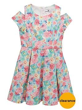 v-by-very-girls-floral-cold-shoulder-dress