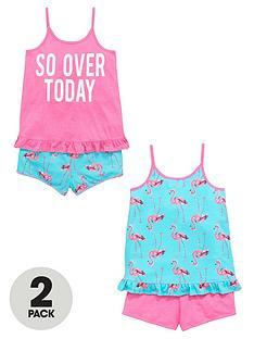 v-by-very-girls-flamingo-shortynbsppyjamas-2-pack