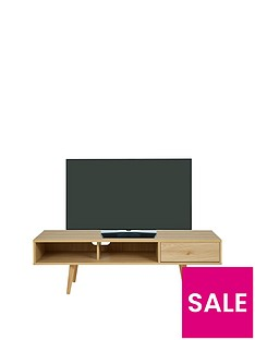 Ideal Home Monty Retro TV Unit- Fits up to 65 Inch TV - Oak-Effect