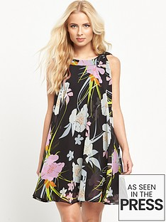 v-by-very-tie-neck-printed-dress
