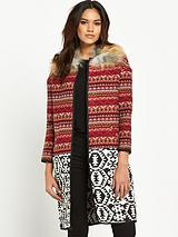 Faux Fur Collar Jacquard Coat
