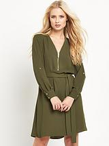Zip Detail Shirt Dress