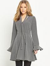 Fluted Sleeve Tie Neck Dress