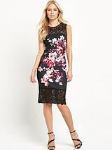 Thick Thin Floral Lace Hem Bodycon Dress
