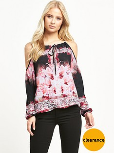 lipsy-floral-print-cold-shoulder-top