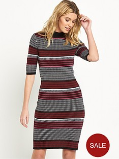 v-by-very-textured-stripe-funnel-neck-bodycon-dress