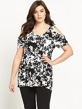 Cold Shoulder Print Jersey Top