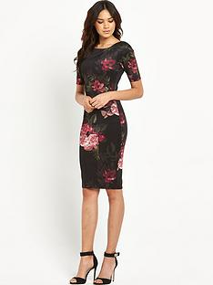 ax-paris-three-quarter-sleeve-statement-midi-dress