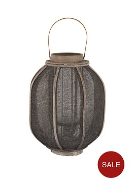antique-grey-wood-amp-linen-candle-holder