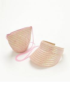 girls-sequin-straw-visor-and-bag-set