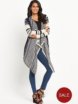 v-by-very-stripe-tape-waterfall-cardigan