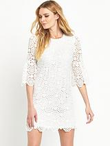 Crochet Lace Fluted Sleeve Dress