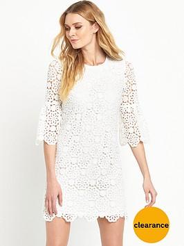 v-by-very-crochet-lace-fluted-sleeve-dress