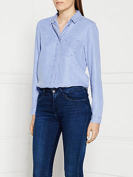 calvin-klein-slim-chambray-shirt-blue