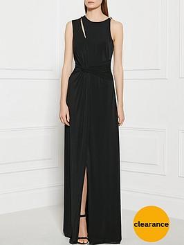 halston-heritage-twist-detail-jersey-maxi-dress