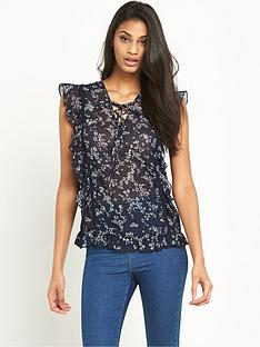 v-by-very-printed-ruffle-lace-up-blousenbsp