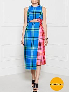 house-of-holland-cut-out-tartan-midi-dress