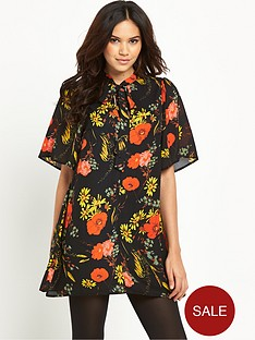 glamorous-glamorous-tie-front-floral-dress