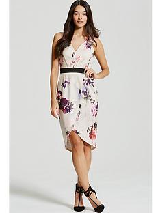 little-mistress-petal-print-plunge-midi-dress