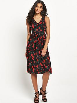 glamorous-tie-front-floral-midi-dress