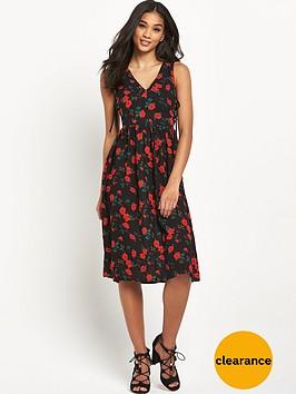 glamorous-tie-front-floral-midi-dress
