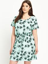 Palm Tree Print Tie Waist Jersey Dress